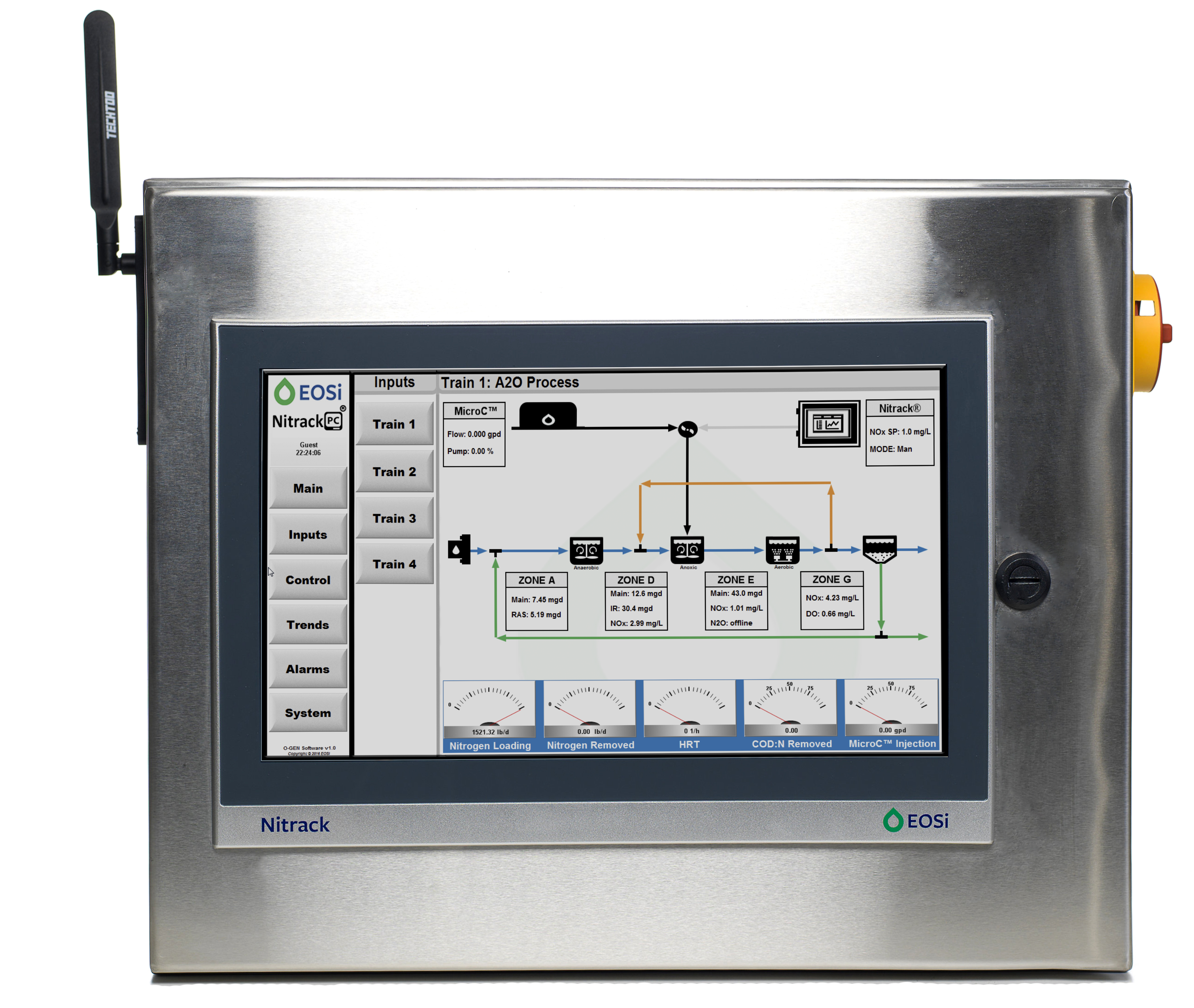 Nitrack process control unit with human machine interface showing plant wastewater treatment process